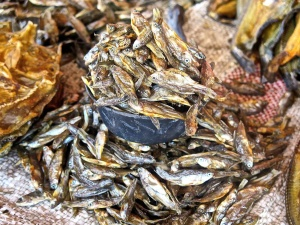 Dambwa Market, dried fish on sale